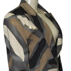 Iceberg Khaki Women's Rhinestone Sequin Blazer